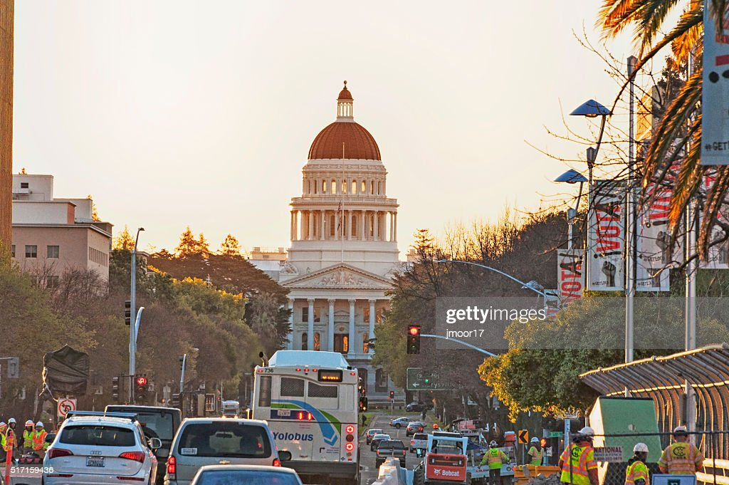 Capital City Morning Busy Mall View : Stock Photo