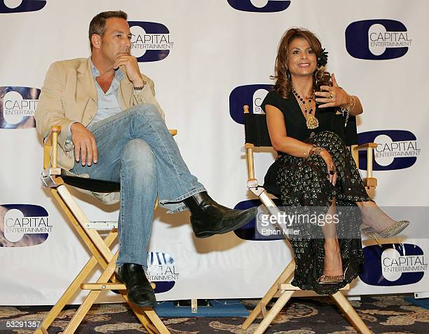 Capital Entertainment president Henry Winterstern and singer Paula Abdul speak at a news conference announcing the release of three DVD compilations...