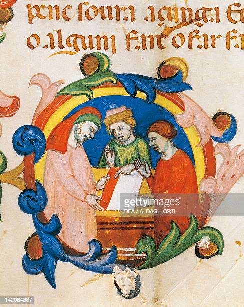 Capital initial letter depicting the choosing of fabric Venetian miniature from the Mariegola for Wool Trading and Processing manuscript Venice Italy...