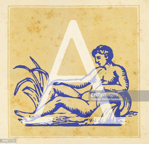 Capital letter A with Aquarius zodiac sign Digital illustration realized by assembling 19th century printing elements by Elena Piccini Italy Milan...