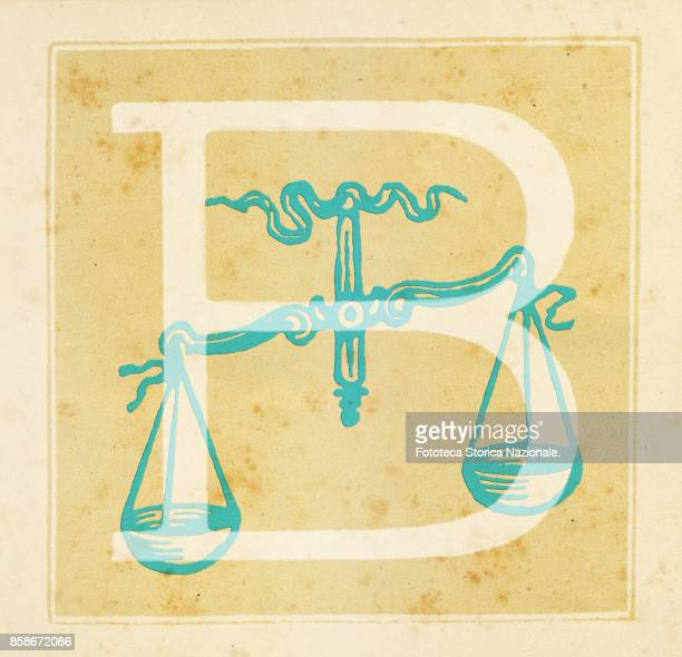Capital letter B with the Balance Zodiac sign Digital illustration realized by assembling 19th century printing elements by Elena Piccini Italy Milan...