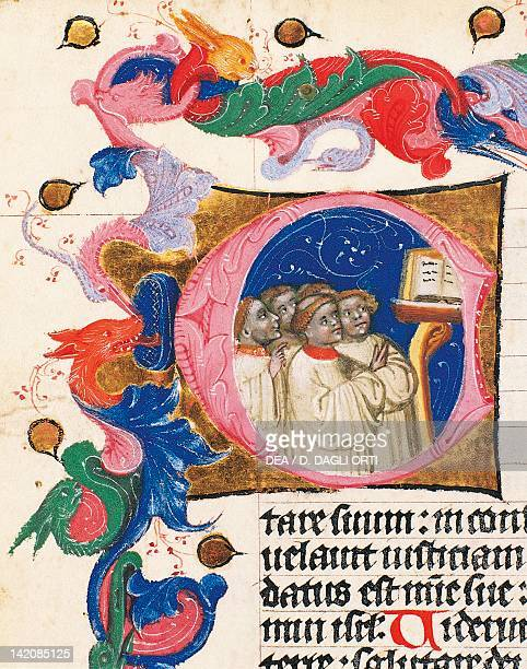 Capital letter illumination with pupils of the school of the man who sing miniature from Breviario del patriarca by Aquileia Ludovico Teck manuscript...