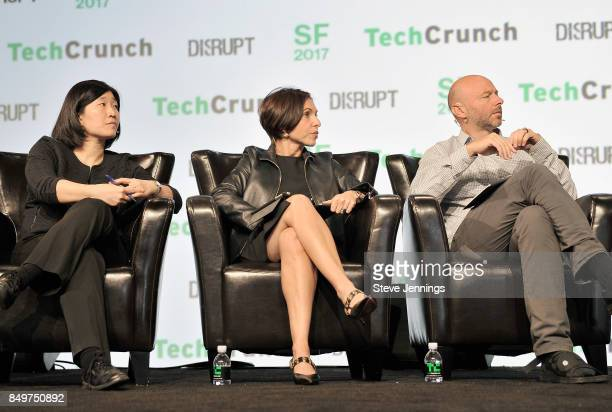 GGV Capital Managing Partner Jenny Lee Canaan Partners General Partner Nina Kjellson and CrunchFund General Partner Patrick Gallagher judge the...