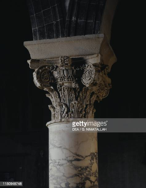Capital of a column, basilica of San Miniato al Monte , Florence , Tuscany. Italy, 13th century.