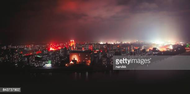 capital of north korea pyongyang by night - pyongyang stock pictures, royalty-free photos & images