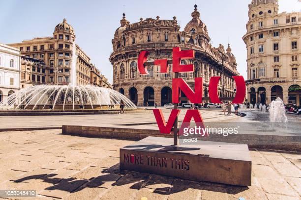 リグーリア州とイタリアで 6 番目に大きい都市、イタリアの地域の首都。リグリア海でジェノヴァ湾に位置し、ジェノバ歴史的にされている地中海の最も重要な港の 1 つ - イタリア ジェノヴァ ストックフォトと画像
