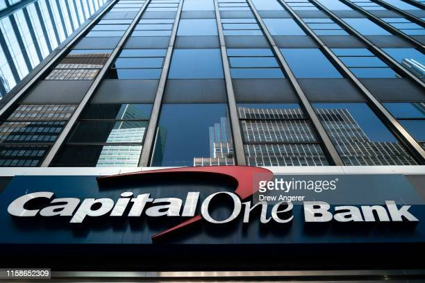 Capital One bank stands in Midtown Manhattan on July 30 2019 in New York City In one of the largestever thefts of bank data a software engineer in...