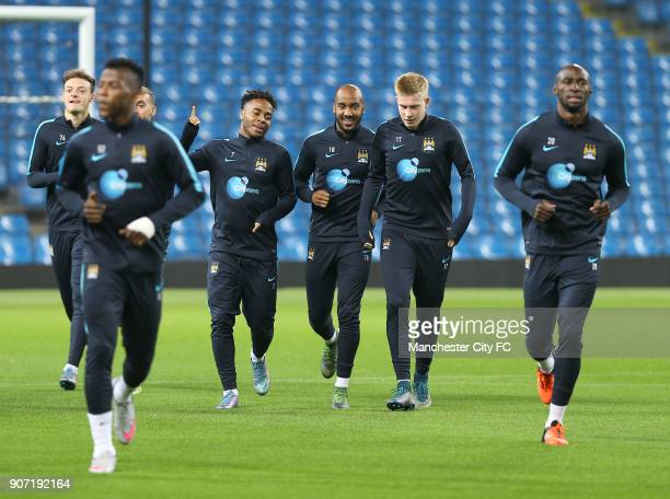 Capital One Cup Fourth Round Manchester City v Crystal Palace Manchester City Training Session Etihad Stadium Manchester City's Fabian Delph Raheem...