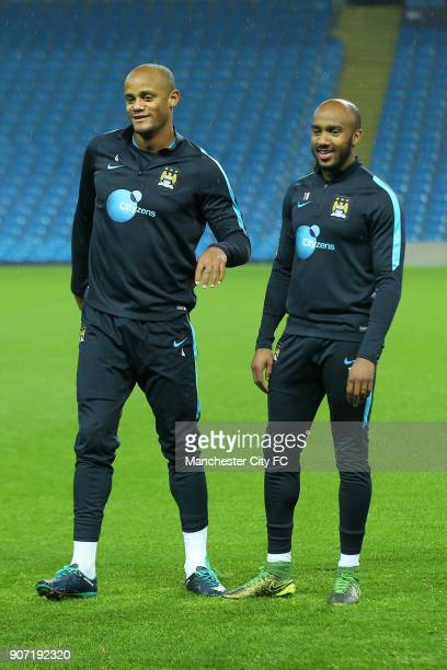 Capital One Cup Fourth Round Manchester City v Crystal Palace Manchester City Training Session Etihad Stadium Manchester City's Vincent Kompany and...
