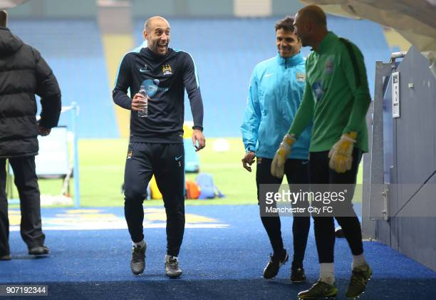 Capital One Cup Fourth Round Manchester City v Crystal Palace Manchester City Training Session Etihad Stadium Manchester City's Pablo Zabaleta and...