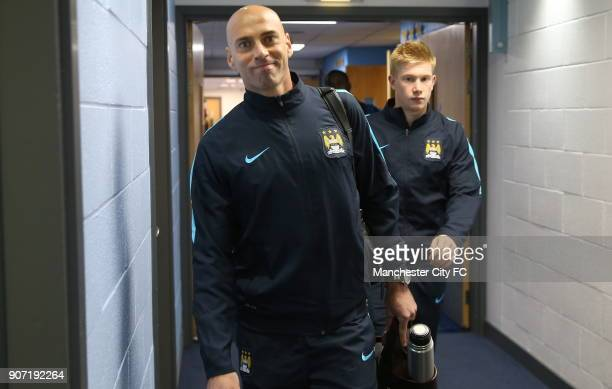 Capital One Cup Fourth Round Manchester City v Crystal Palace Etihad Stadium Manchester City's Willy Caballero and Kevin de Bruyne arrive at the...