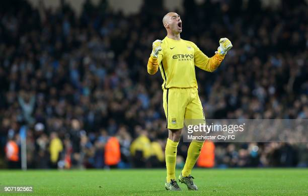 Capital One Cup Fourth Round Manchester City v Crystal Palace Etihad Stadium Manchester City goalkeeper Willy Caballero celebrates a goal