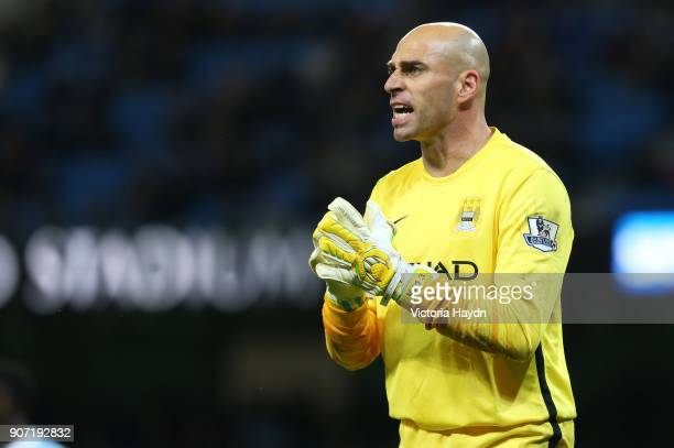 Capital One Cup Fourth Round Manchester City v Crystal Palace Etihad Stadium Manchester City goalkeeper Willy Caballero in action