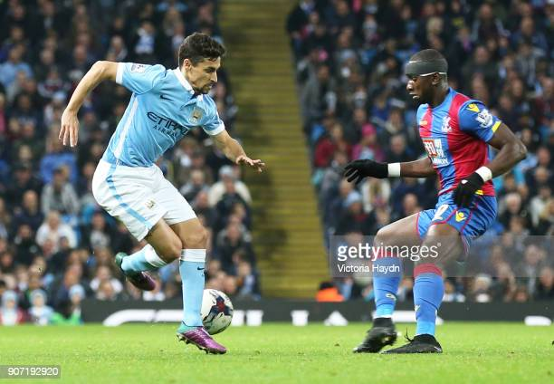 Capital One Cup Fourth Round Manchester City v Crystal Palace Etihad Stadium Manchester City's Jesus Navas in action with Crystal Palace's Yannick...