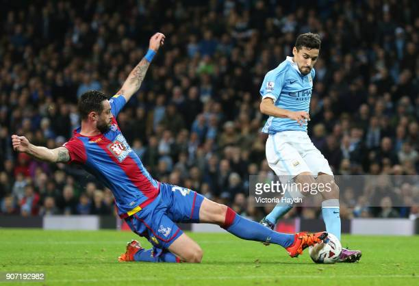 Capital One Cup Fourth Round Manchester City v Crystal Palace Etihad Stadium Manchester City's Jesus Navas in action with Crystal Palace's Damien...