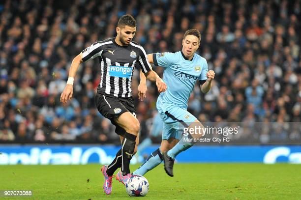 Capital One Cup Fourth Round Manchester City v Newcastle United Etihad Stadium Mehdi Abeid Newcastle United and Samir Nasri Manchester City battle...