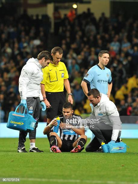 Capital One Cup Fourth Round Manchester City v Newcastle United Etihad Stadium Mehdi Abeid Newcastle United receives treatment for an injury