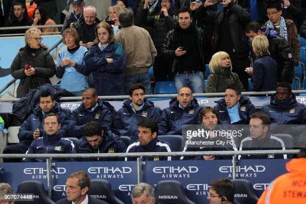 Capital One Cup Fourth Round Manchester City v Newcastle United Etihad Stadium Manchester City's Sergio Aguero Fernando Jesus Navas Pablo Zabaleta...