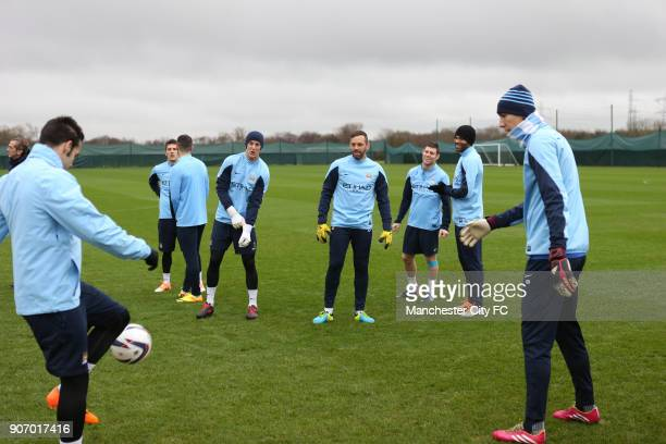 Capital One Cup Quarter Final Leicester City v Manchester City Manchester City Training and Press Conference Carrington Training Ground Manchester...