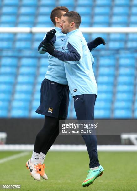 Capital One Cup Semi Final First Leg Manchester City v West Ham United Manchester City Training Etihad Stadium Manchester City's Aleksandar Kolarov...