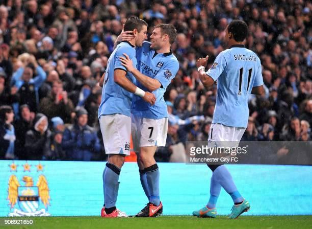 Capital One Cup Third Round Manchester City v Aston Villa Etihad Stadium Manchester City's Aleksandar Kolarov celebrates scoring his side's second...