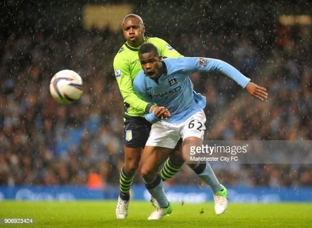 Capital One Cup Third Round Manchester City v Aston Villa Etihad Stadium Aston Villa's Charles N'Zogbia and Manchester City's Abdul Razak battle for...
