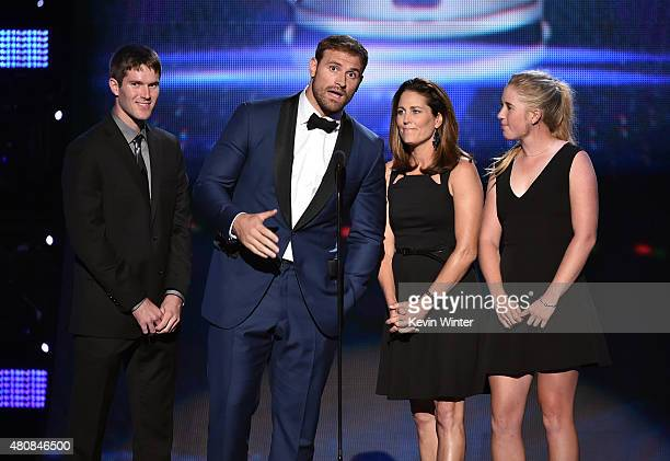 Capital One Cup Winner Mitchell Frank NFL player Chris Long former professional soccer player Julie Foudy and Capital One Cup Winner Casey Danielson...