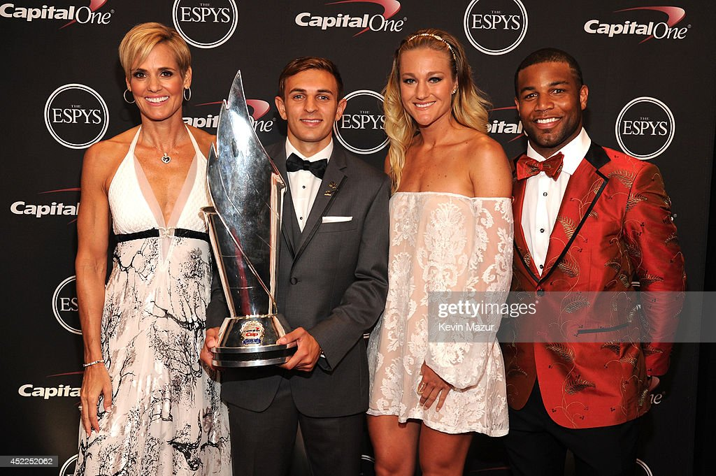 Capital One Cup Winners Dara Torres, Max Lachowecki, Hannah Rogers and Golden Tate attend The 2014 ESPY Awards at Nokia Theatre L.A. Live on July 16, 2014 in Los Angeles, California.