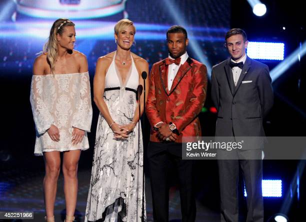 Capital One Cup Winners Hannah Rogers Dara Torres Golden Tate and Max Lachowecki speak onstage during the 2014 ESPYS at Nokia Theatre LA Live on July...