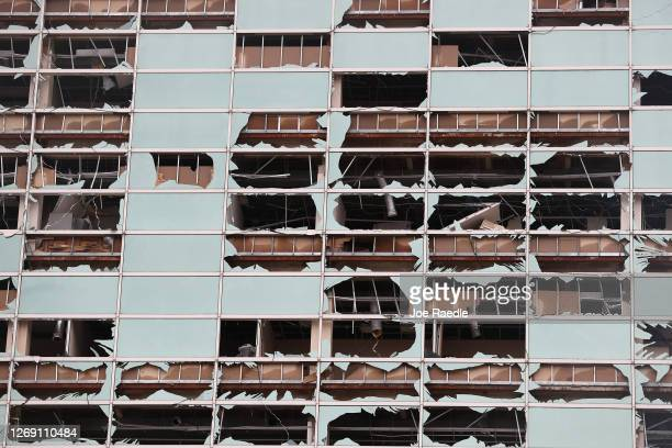 Capital One Tower is seen with its windows blown out in the downtown area after Hurricane Laura passed through on August 27, 2020 in Lake Charles,...