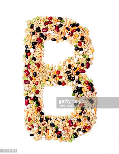 Capital or Upper Case Letter B made from Beans