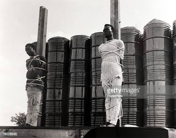 Capital Punishment Ilorin Nigeria 10th June 1971 Two convicted armed robbers about to be executed by firing squad
