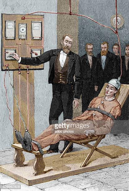 Capital punishment with an electric chair Ca 1890 Coloured engraving