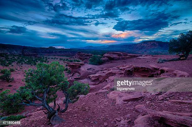 capital reef national park during a storm - capitol reef national park stock pictures, royalty-free photos & images