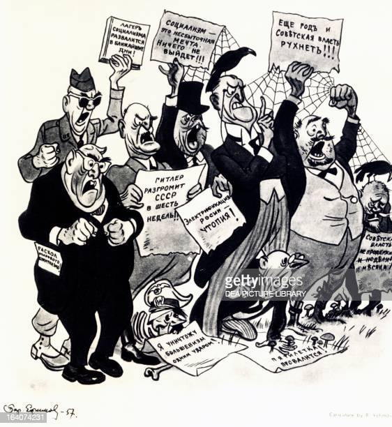 Capitalist nations' antisoviet propaganda slogans caricature by Boris Efimov 1957 Russia 20th century