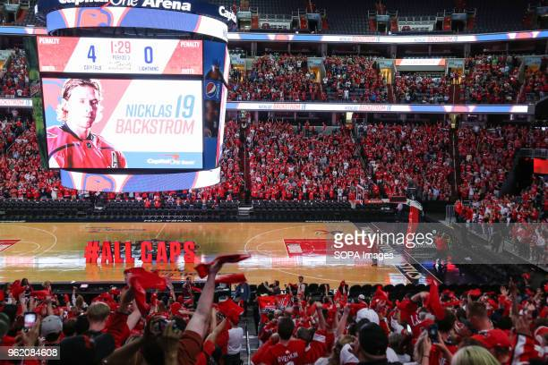Capitals fans react to a goal during Game 7 for the Eastern Cup against the Tampa Bay lightning