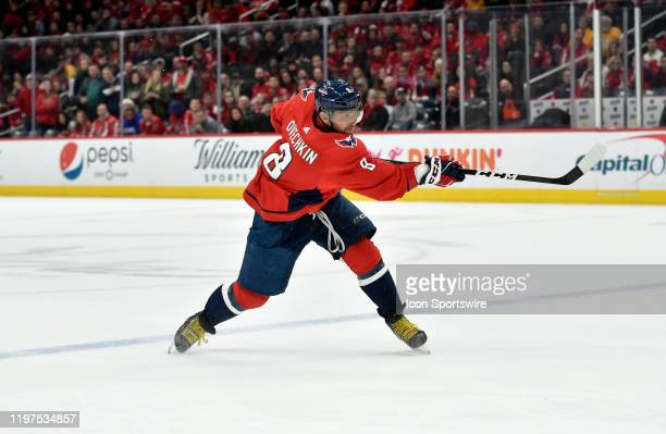 Capitals left wing Alexander Alex Ovechkin takes a slap shot from the point on the power play during the Nashville Predators vs. Washington Capitals...