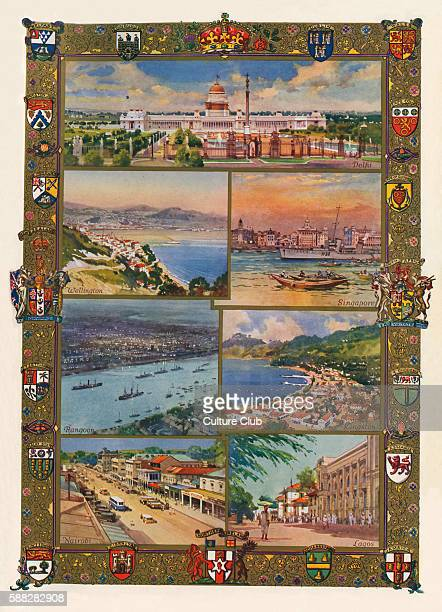 Capitals of the British Empire 1936 Top Delhi India lower left Wellington New Zealand lower right Singapore lower left Rangoon Burma lower right...