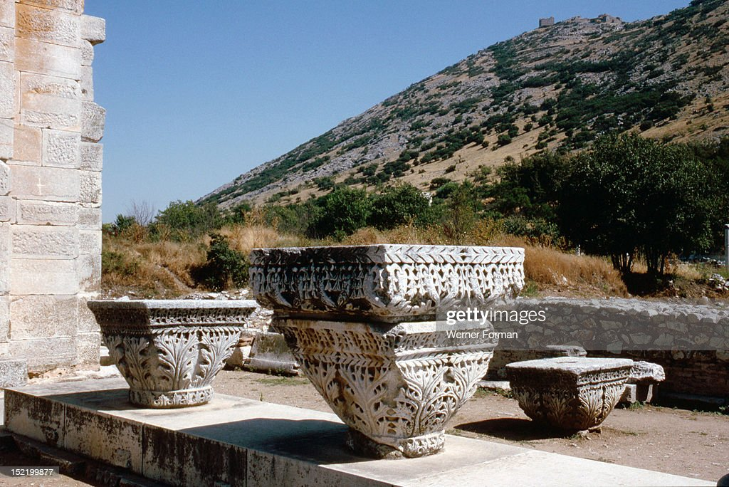 Capitals With Acanthus Leaf Decoration In Basilica B At Philippi With The  Cityu0027s Ancient Acropolis In