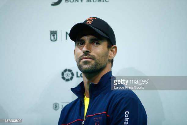 Capitan of Colombia Team, Santiago Giraldo, looks on during the Presentation of the Davis Cup by Rakunten Finals 2019 of tennis at Caja Magica on...
