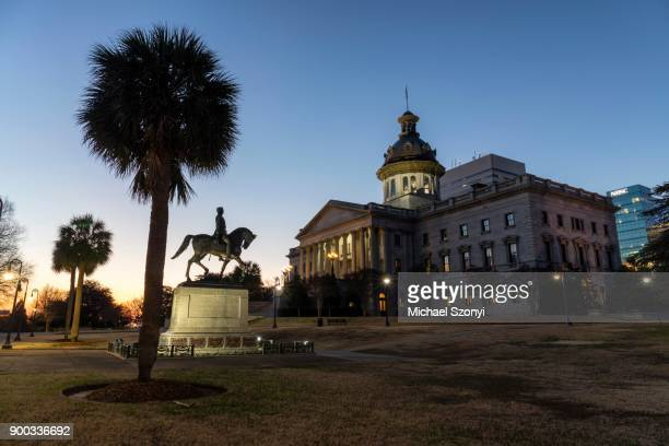 capitol and palmettopalme, columbia, south carolina, usa - columbia south carolina stock pictures, royalty-free photos & images