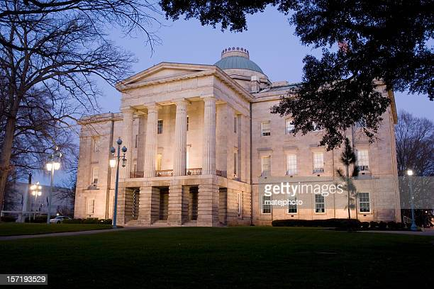 nc capitol at dusk 01 - raleigh north carolina stock pictures, royalty-free photos & images