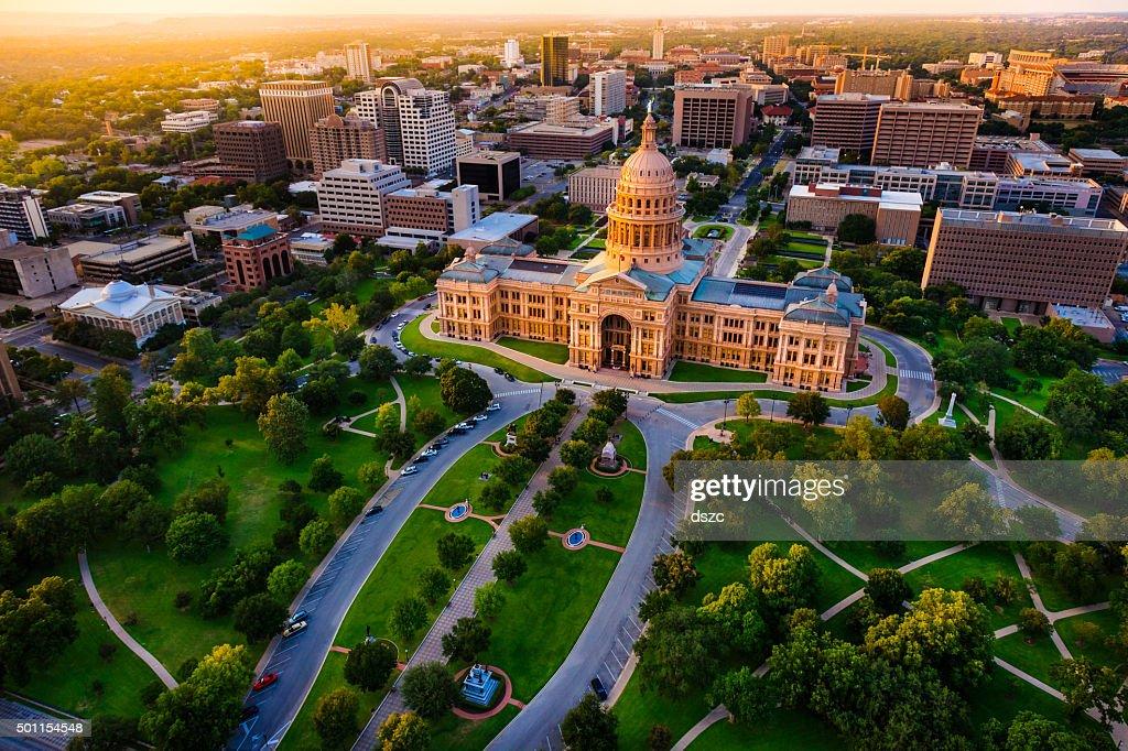 Capitol building, aerial skyline, sunset, Austin, TX,  Texas State Capital : Stock Photo