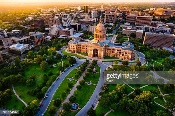 capitol building, aerial skyline, sunset, austin, tx,  texas state capital - texas stock pictures, royalty-free photos & images