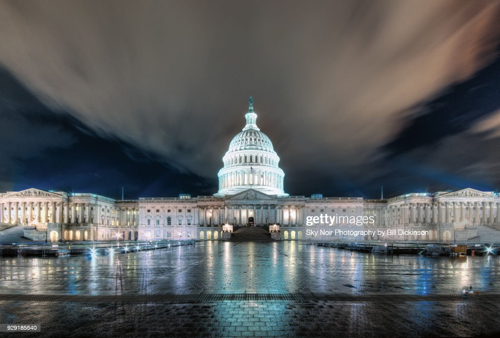 US capitol building at night : Stock Photo