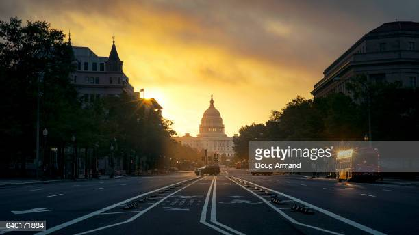 capitol building at sunrise in washington d.c, usa - capitol building washington dc stock pictures, royalty-free photos & images