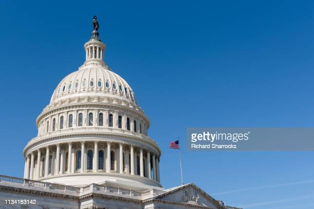 us capitol building dome with american flag - hauptstadt stock-fotos und bilder
