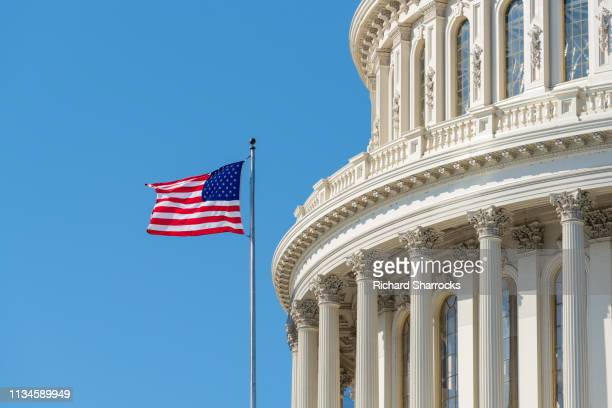 us capitol building dome with american flag - overheid stockfoto's en -beelden
