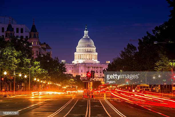 capitol building from pennsylvania avenue - democratic party usa stock pictures, royalty-free photos & images