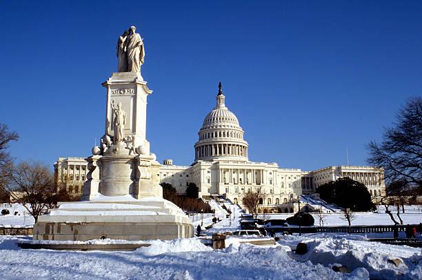 US Capitol building in winter snow, Washington DC